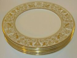 6 Wedgwood Florentine Gold W4219 10 3/4 Dinner Plates Lot A Excellent