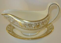 Wedgwood Florentine Gold W4219 Sauce Boat Gravy Jug And Underplate Excellent