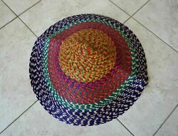 Colorful Large Asian Conical Hat Woven Straw Rice Farmer Handmade Mexico 22 M