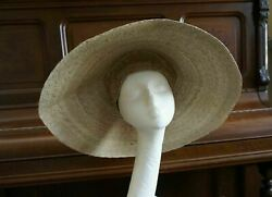 Natural Large Asian Conical Hat Woven Straw Rice Farmer Handmade Mexico 21 M