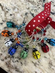 Lady Bugs Lady Bugs Colorful Beetles Wine Glass Charm Rings Set Of 8