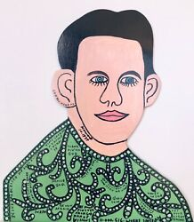 Howard Finster Art Temporary Sale  Signed 1989 Wood Cutout Portrait,16.5 Tall