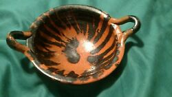 Vintage Mexican Red Clay Handmade Glazed Native Bowl Dish Handles