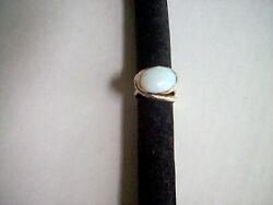 Isreali Designer Large Oval Faceted Opalite Cabachon Sterling Silver Size 7 Ring