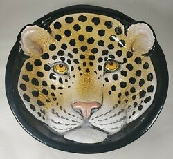 Vintage Leopard 3d Bowl Made In Italy, Leopard Italian Bowl, Red Clay Bowl