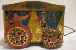 Vintage Circus Biscuit Tin Pull Toy On Wheels - Clowns Strong Man Dog Monkey