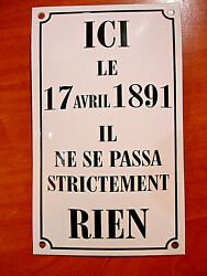 Plaque Emaillee Bombee Ici Le 17 Avril 1891 ... Email Enameled Tin Sign