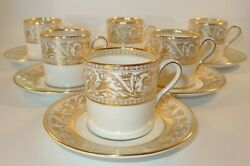 6 Wedgwood Florentine Gold W4219 Coffee Cans Or Cups And Saucers Lot B Excellent