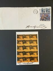 Two Andy Warhol Autographs Envelope And Orange Disaster Postcard