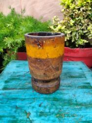 Antique Wooden Hand Carved Mustard Yellow Painted Mortar Grinding Kharal Pot
