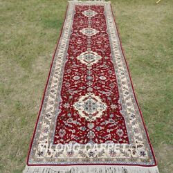 Yilong 2.5'x10' Red Handknotted Silk Rug Runner Hallway Gallery Carpet Tj135a