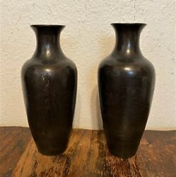 Pair Signed Antique Chinese Bronze Bud Vases W. Silver Wire Inlay, Shi Sou - 6