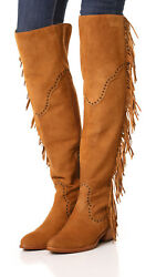 New 578 Womens 9.5 Frye Suede Leather Boots Otk Tall Knee Fringe Ray Camel Tan