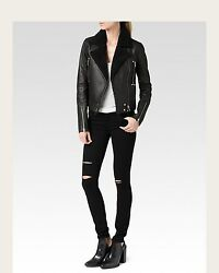 New Nwt Womens Paige Designer Rooney Leather Moto Jacket L Faux Shearling Black