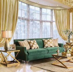 Gorgeous Gold Finish Legs 2pc Set Emarld Green Sofa Love-seat Pillow Couch Usa