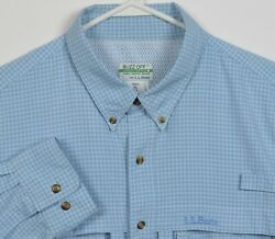 L.l. Bean Menand039s Xl Buzz Off Insect Shield Vented Blue Plaid Travel Fishing Shirt
