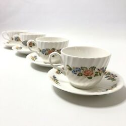 Aynsley Cottage Garden Footed Cup And Saucer Set Of 4 Fine English Bone China