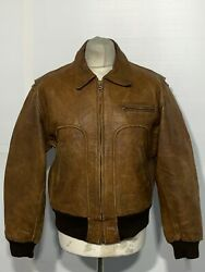 Vintage 80and039s Chevignon Antique Leather Aviator Bomber Jacket Size L Ace Patina