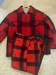 Vintage Mens Soo Wool Red Plaid Hunting Coat / W Rare Matching Pants Hipster