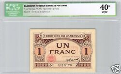 Territory Of Cameroon 1 Franc Nd 1922 Pick 5 Rare Quality Icg 40 Vf/ Ef