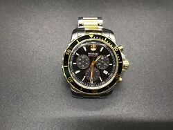 Movado Series 800 Chronograph Black Dial Two-tone Ss Men's Watch 8 In Band 443