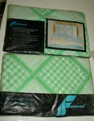 Vintage Fieldcrest Queen Size Flat And Fitted Sheet Virginia Reel Green White New