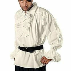 Medieval Renaissance Pirate Costume Top Shirt Male Ruffled Blouse Cosplay Tshirt