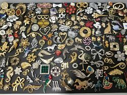Huge 187 Pcs Vintage And Now Brooches Pins Jewelry Lot Some Signed Avon Monet Lc