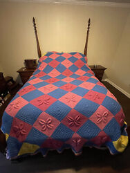 Vintage Crochet Knitted Afghan Blanket 3d Granny Squares 120 X 96andrdquo Queen Size