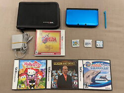 Nintendo 3ds Xl Console Handheld Blue W/7 Games And Case Bundle Lot - Tested Works