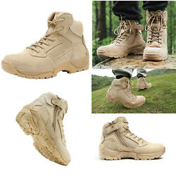 Mens Ankle Side Zip Zipper Military Tactical Hiking Boots Leather Combat Boots