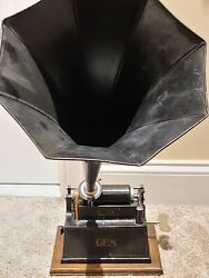 Antique Working 1898 Edison Gem Wind-up Early Key Wind Cylinder Phonograph