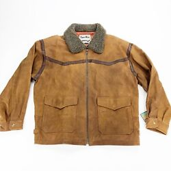 Vtg Pioneer Wear Suede Leather Western Jacket Sherpa Collar Menandrsquos Size Xl W Tags