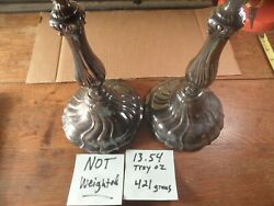 B8 Scrap Or Keep Estate Sterling Silver 10.5 Candle Stick Pair Not Weighted