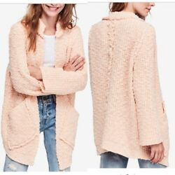 Nwt 168 Free People Peach Fuzz Waterfront Open Front Cardigan Sweater Xs