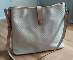 Stella amp; Dot Woven Tan Tote Hobo Shoulder Handbag Purse quot;Always By Your Sidequot; $41.00