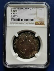 1646-1648 Great Britain 1/2 Half Crown Silver Coin Tower Mint Charles I Ngc Au53