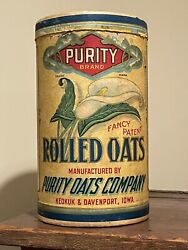 Antique Purity Rolled Oats Box Keokuk Davenport Iowa Grocery Store