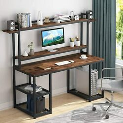 Tribesigns 55 Inch Office Desk With Monitor Stand And Storage Shelf Gaming Desk