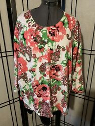Sag Harbor Plus-size 3x Women's Floral Pink And Cream Cardigan Sweater