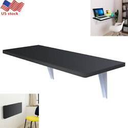 Wall Mount Floating Folding Wood Computer Desk Pc Table Space Saving Study Work