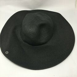 Peter Grimm Womens One Size Fits All Black Beach Straw Sun Hat Wide Brim Casual $27.62
