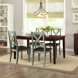 Rustic 5 Pc Dining Table Set Farmhouse Country Kitchen Wood Chairs Sage Brown