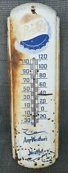 Vintage 1950and039s Pepsi Cola Soda Pop Gas Station 27 Metal Thermometer Sign Works
