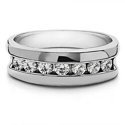 0.50 Ct Real Diamond Menand039s Wedding Bands 14k Solid White Gold Size 9 10 11 12.5