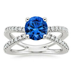 1.74 Ct Natural Blue Sapphire Diamond Engagement Rings 14k White Gold Size 5 6 7