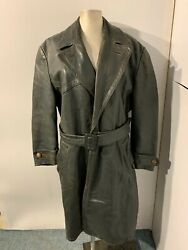 Vintage 40and039s Ww2 German Bfw Distressed Leather Trench Coat Jacket Size L