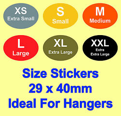 Coloured Ladies / Mens Clothes Size Stickers - Sticky Labels For Hangers