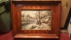 Antique Framed Chinese Silk Embroidery Picture Wood Inlay Frame