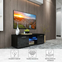 High Gloss Tv Stand Unit Cabinet 2 Storages Console Table W/ Colorful Led Lights
